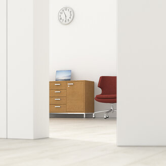 Office behind ajar door, 3d rendering - UWF01374