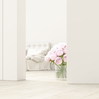 Bedroom with bunch of roses behind ajar door, 3d rendering - UWF01377