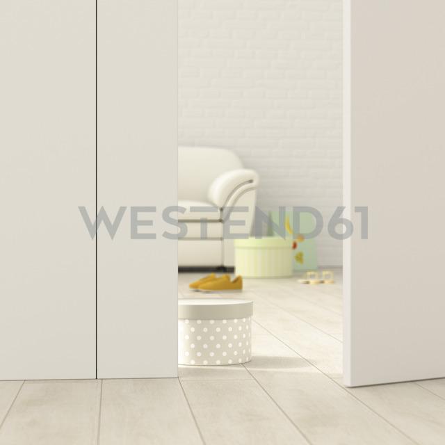 Modern living room behind ajar door, 3d rendering - UWF01380