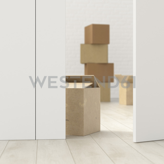 Cardboard boxes in a room behind ajar door, 3d rendering - UWF01383