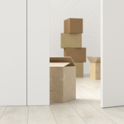 Cardboard boxes in a room behind ajar door, 3d rendering - UWF01383