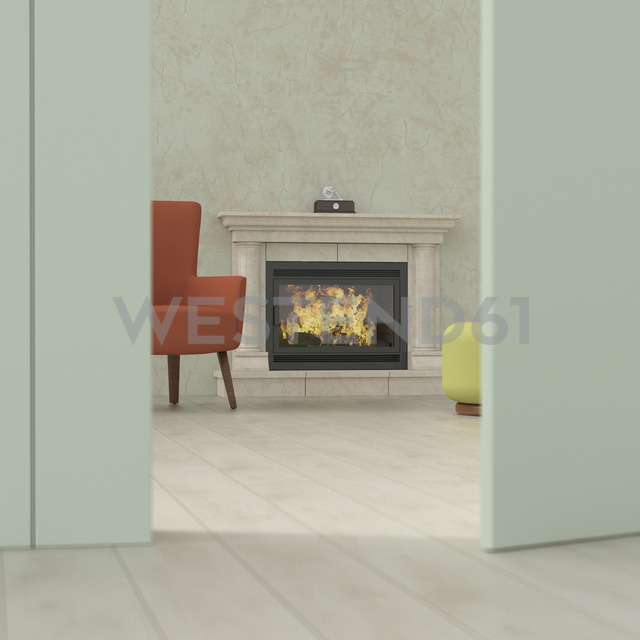 Old-fashioned living room behind ajar door, 3d rendering - UWF01386
