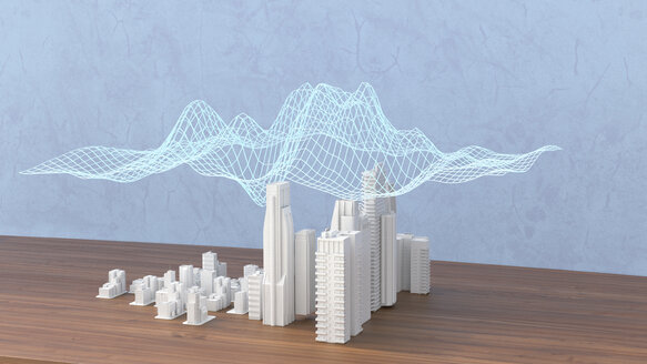 Model of a city with digital grid, 3d rendering - UWF01389