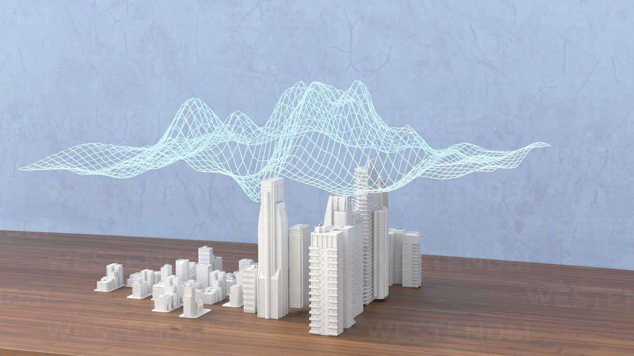 Model of a city with digital grid, 3d rendering - UWF01389 - HuberStarke/Westend61