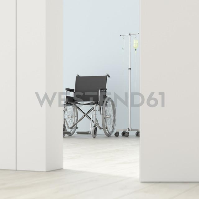 Wheelchair and IV drip in a room behind ajar door, 3d rendering - UWF01395