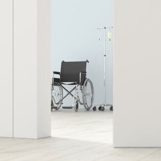 Wheelchair and IV drip in a room behind ajar door, 3d rendering - UWF01395