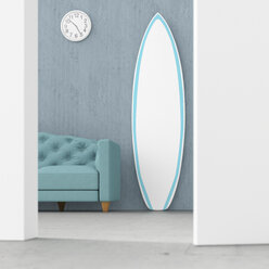 Surfboard in living room behind ajar door, 3d rendering - UWF01398