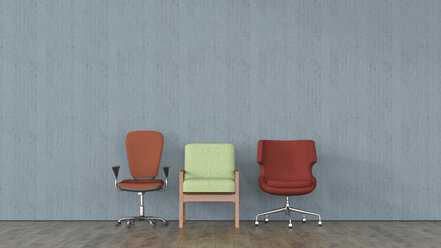 Three different chairs in front of concrete wall, 3d rendering - UWF01401