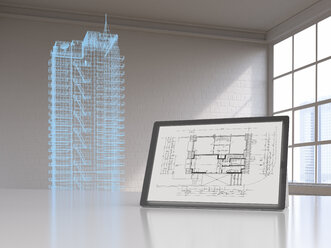 Tablet with blueprint and model of a skyscraper with digital grid, 3d rendering - UWF01404