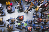 Overhead view speaker and audience at conference - CAIF20417