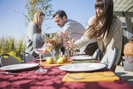 Friends arranging outdoor table during garden party - CAVF48229
