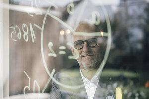 senior businessman brainstorming, drawing formulas on window pane - GUSF00708