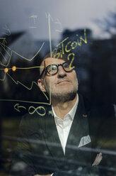 senior businessman brainstorming, drawing formulas on window pane - GUSF00711