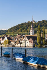 Switzerland, Canton of Schaffhausen, Stein am Rhein, Lake Constance, Rhine river, Old town, St. George's Abbey and Hohenklingen Castle - WDF04605