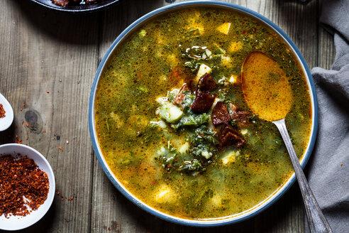 Caldo verde, soup with green cabbage, chorizo and potato - SBDF03548