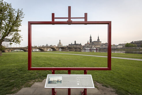 Germany, Saxony, Dresden, Old town, panoramic view through canvas, banks of the Elbe - ASC00853