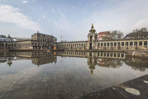 Germany, Saxony, Dresden, Zwinger palace, mirrored in fountain - ASC00865