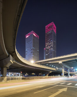 China, Beijing, Central business district and traffic at night - SPP00027