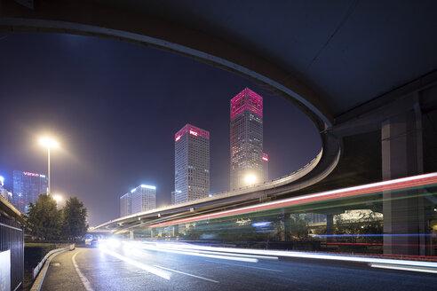 China, Beijing, Central business district and traffic at night - SPPF00030