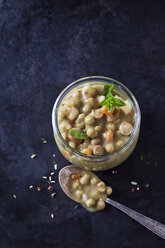 Glass of pea stew with sausage - CSF29143