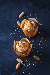 Two carrot cup cakes garnished with  cream topping, sugar granules and marzipan carrots - CSF29176