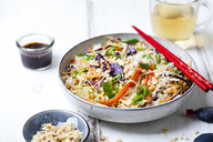 Salad with glas noodles, cabbage, carrots, bell peppers, spring onions, peanuts and hot thai dressing - SBDF03579