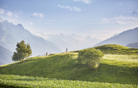 Austria, Tyrol, Patsch, athletes running in mountainscape - CVF00332