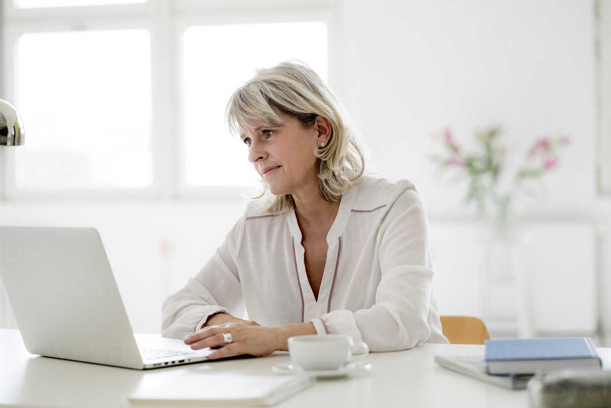 Smiling mature businesswoman working on laptop at desk - HHLMF00246 - harrylidy/Westend61