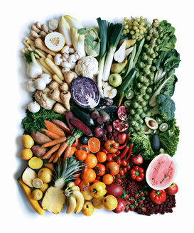 Close up of produce arranged in square - CUF00623