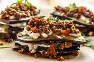 Aubergine lasagne on baking paper, vegetarian - SARF03717
