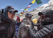 Nepal, Solo Khumbu, Group of mountaineers at  the Everest Base Camp - ALRF01061