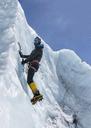 Nepal, Solo Khumbu, Everest, Mountaineers climbing on icefall - ALRF01112