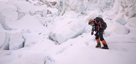 Nepal, Solo Khumbu, Mountaineer at Everest Icefall - ALRF01124