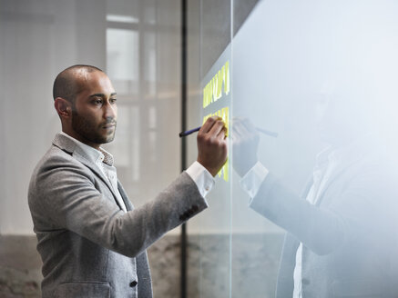 Businessman writing on sticky notes at glass pane in office - CVF00369