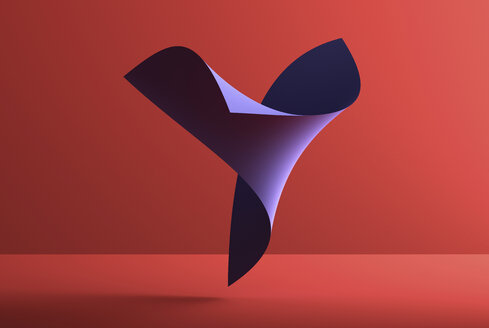 Abstract shape over red background, 3D Rendering - DRBF00060