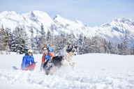 Austria, Tyrol, snowshoe hikers and dog, jumping in the snow - CVF00431