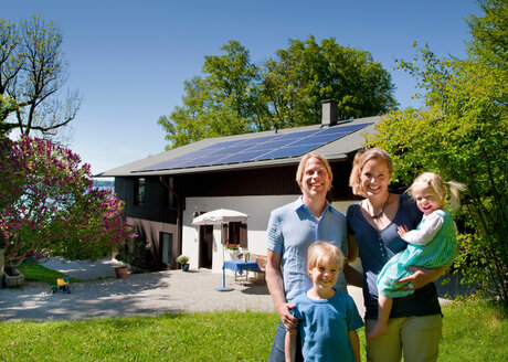 Family at home with solar panel - CUF01598