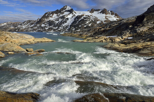 Greenland, East Greenland, river flowing into Sammileq Fjord - ESF01655