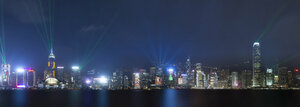 China, Hong Kong, Panoramic view of Central at night - MKFF00366