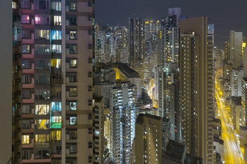 China, Hong Kong, Sheung Wan at night - MKFF00369