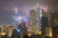 China, Hong Kong, Central and Wan Chai at night - MKFF00372