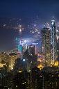 China, Hong Kong, Central at night - MKFF00375