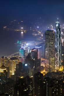 China, Hong Kong, Central at night - MKFF00375