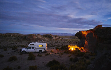 Recreational vehicle, travelling at dusk, Oruro, Oruro, Bolivia, South America - CUF02600