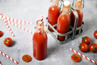 Homemade tomato juice in swing top bottles - RTBF01264