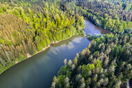 Germany, Baden-Wuerttemberg, Schurwald, Aerial view of Herrenbach reservoir - STSF01550