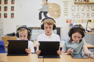 Schoolboy and girls listening to headphones in class at primary school - CUF03087