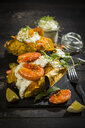 Baked Potato, sweet potato, Argentine red shrimp, sour cream on slate - MAEF12591