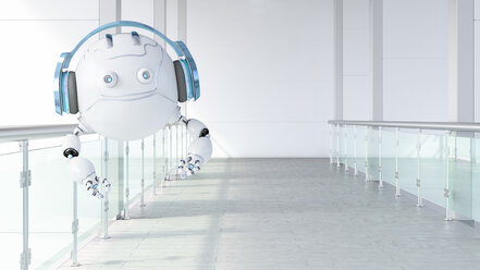 Robotic drone wearing headphones floating on galery, 3d rendering - AHUF00492