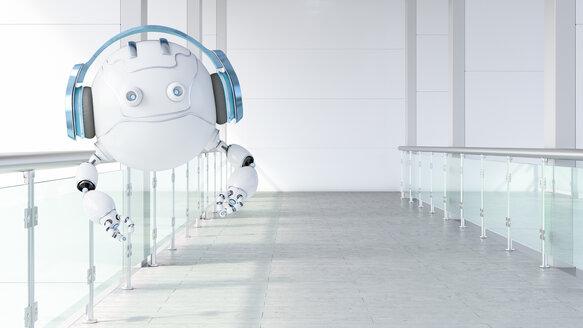 Robotic drone wearing headphones floating on galery, 3d rendering - AHUF00492